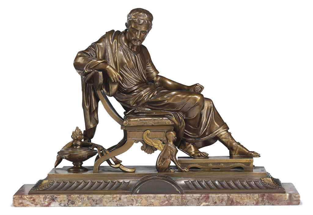 A FRENCH BRONZE FIGURE OF A PHILOSOPHER