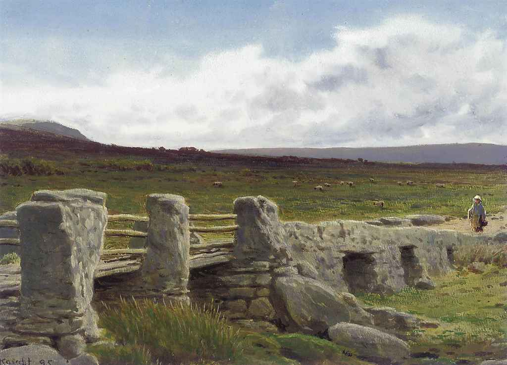 A figure approaching a bridge on a Derbyshire moor
