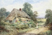 A mother with her child and a kitten before a thatched cottage