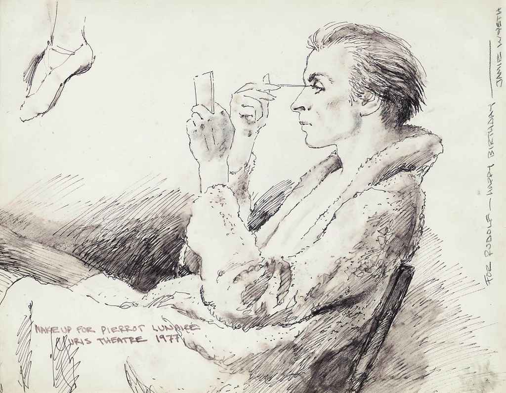 Study of Rudolf Nureyev: Make up for Pierrot Lunaire, Uris Theatre, 1977