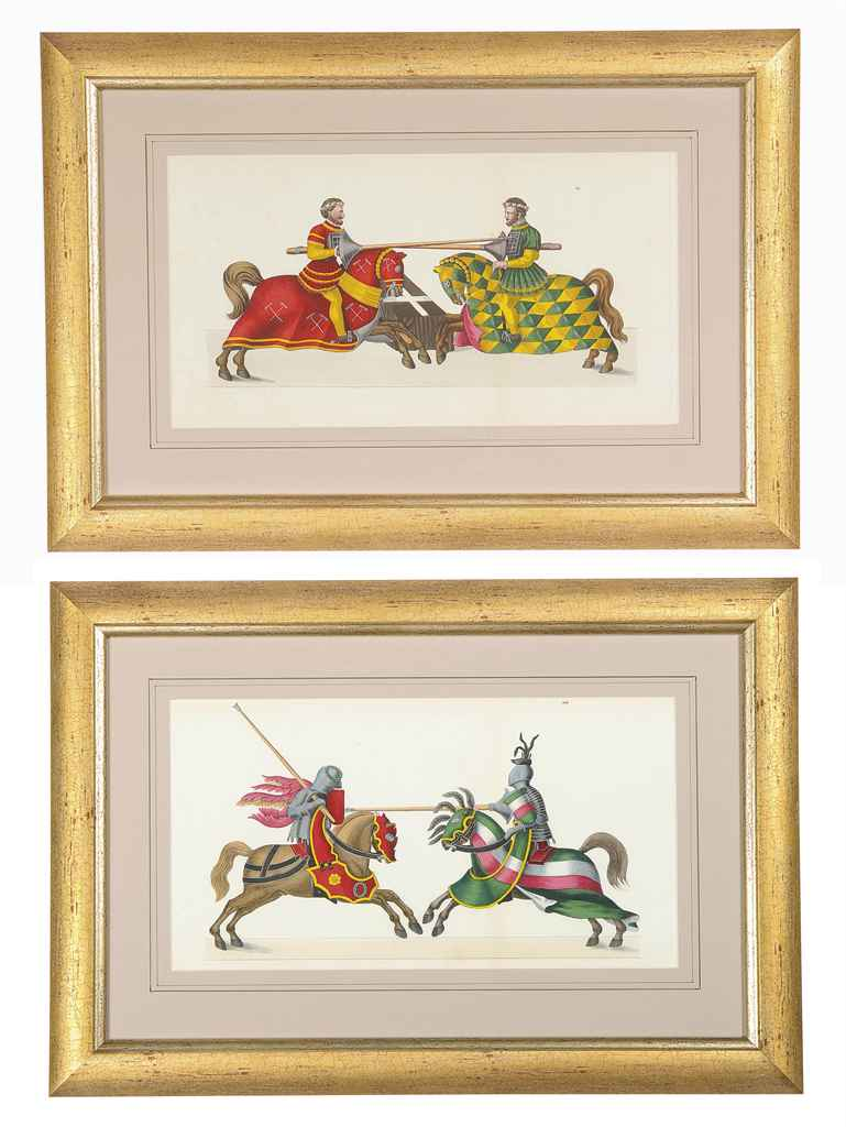 NINE COLOURED ENGRAVINGS OF JOUSTING KNIGHTS