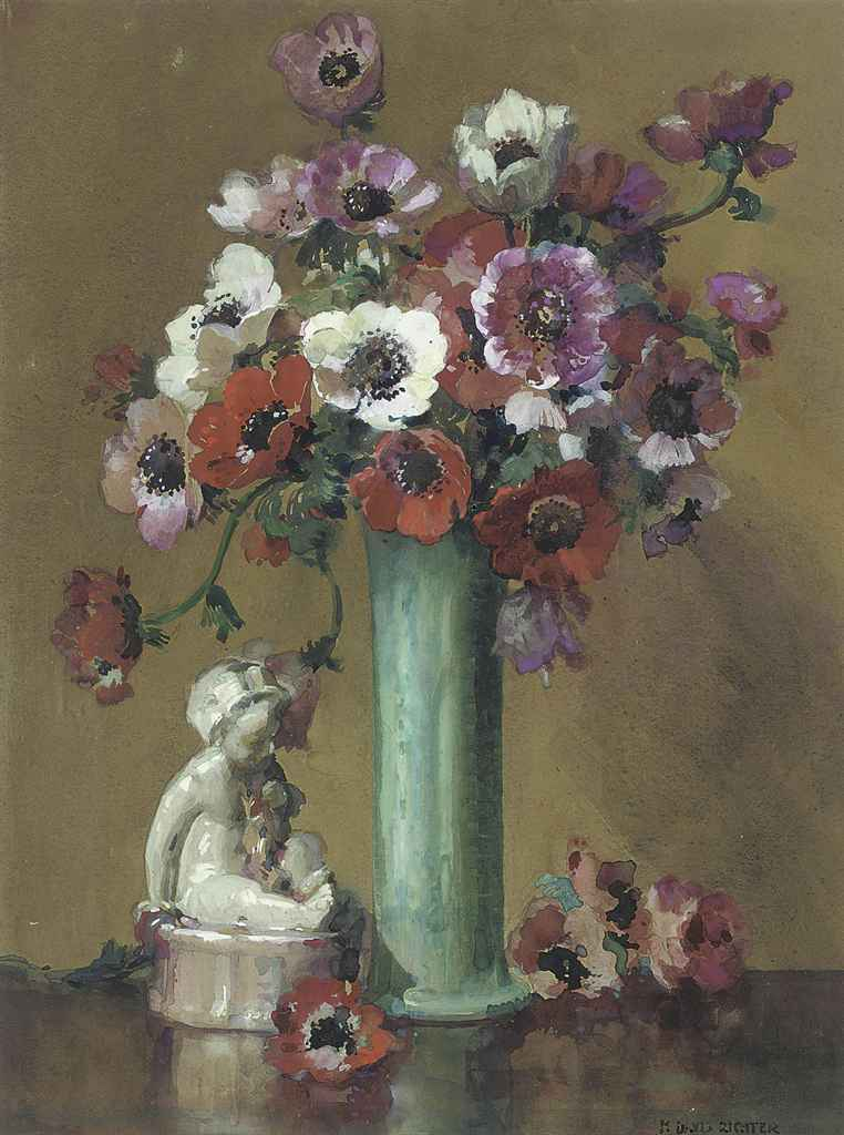 White, red and purple anemones in a green vase