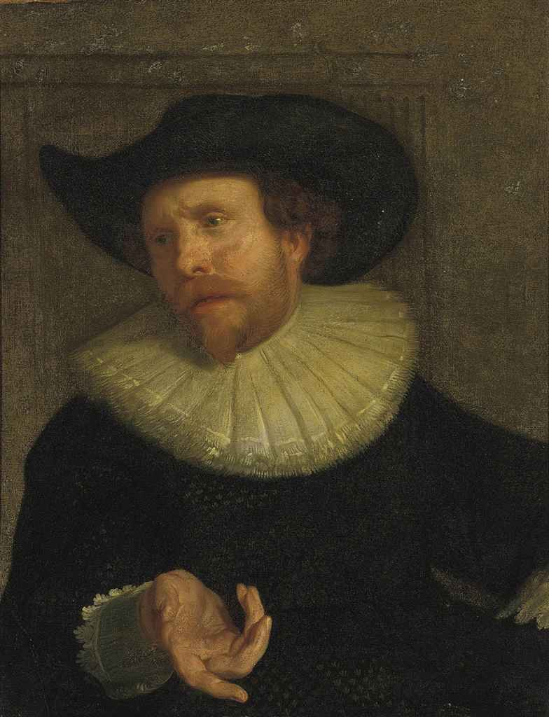 Portrait of a gentleman, half-length, in a black cloak and hat
