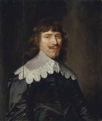Portrait of a gentleman, half-length, in a black doublet with a lace collar