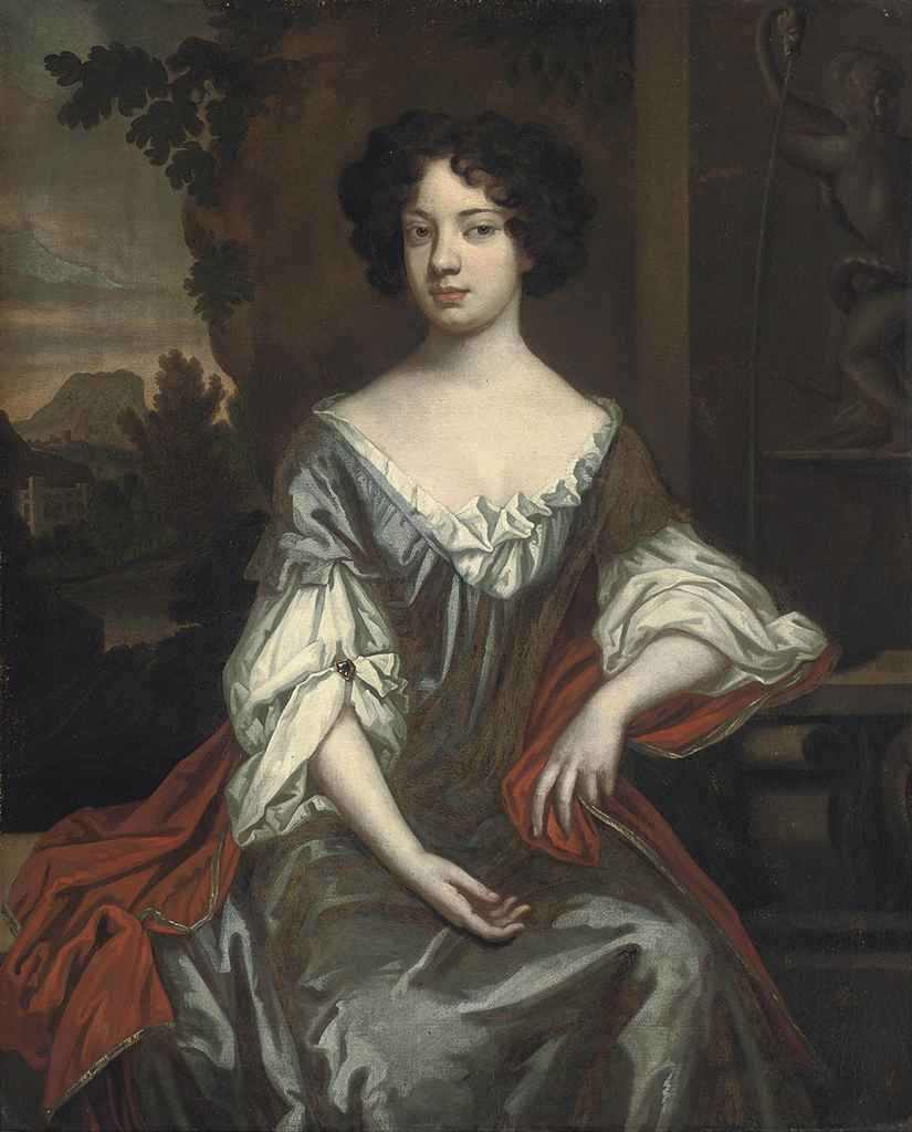 Portrait of a lady, traditionally identified as Gabrielle Charlotte de Castille Chenoise, Marquise de Bellegarde (1717-1738), three-quarter-length, in a blue dress and red wrap, in a landscape