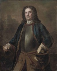 Portrait of Major General Richard St. George, three-quarter-length, in a blue coat and breast plate, a tricorn in his left hand, his right hand on a canon, a castle beyond