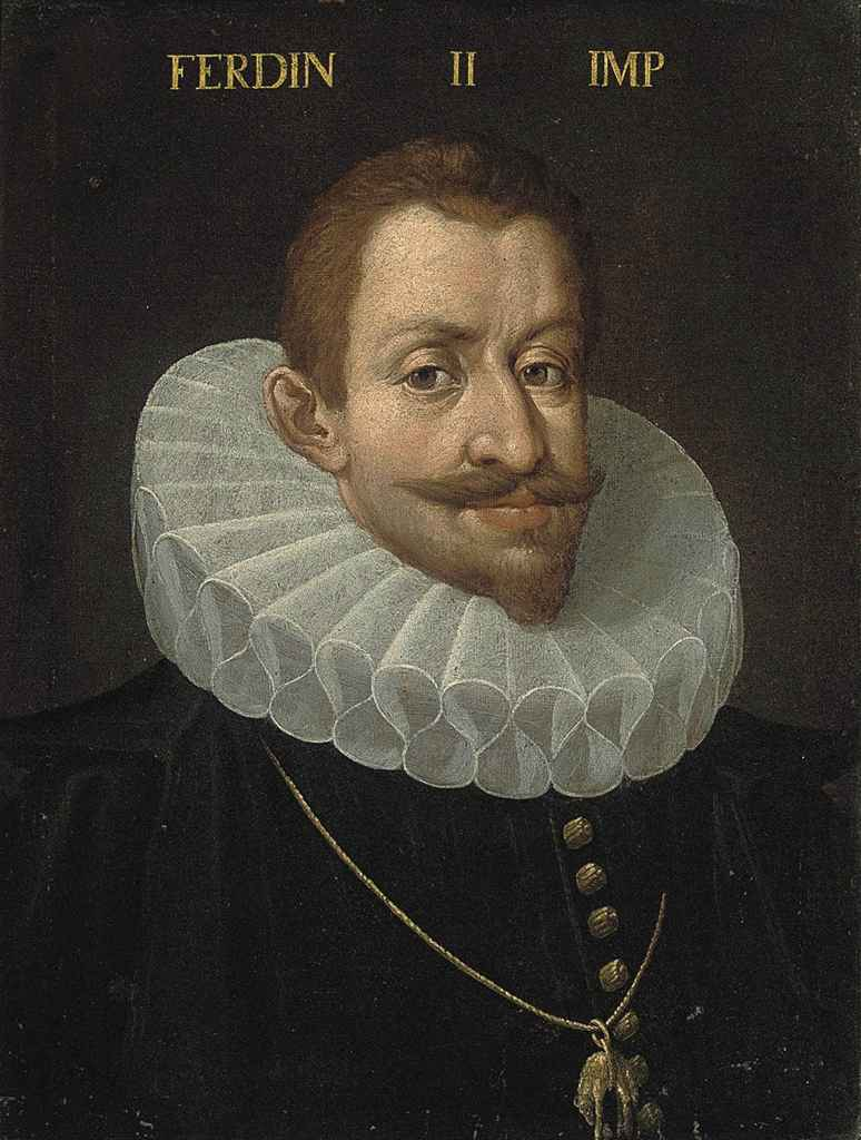 Portrait of Ferdinand II, Archduke of Austria (1529-1595), bust-length, in a black doublet with gold buttons, with a white ruff, wearing the order of the golden fleece