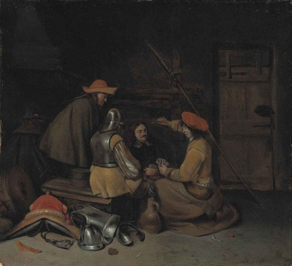 Soldiers playing cards in an interior