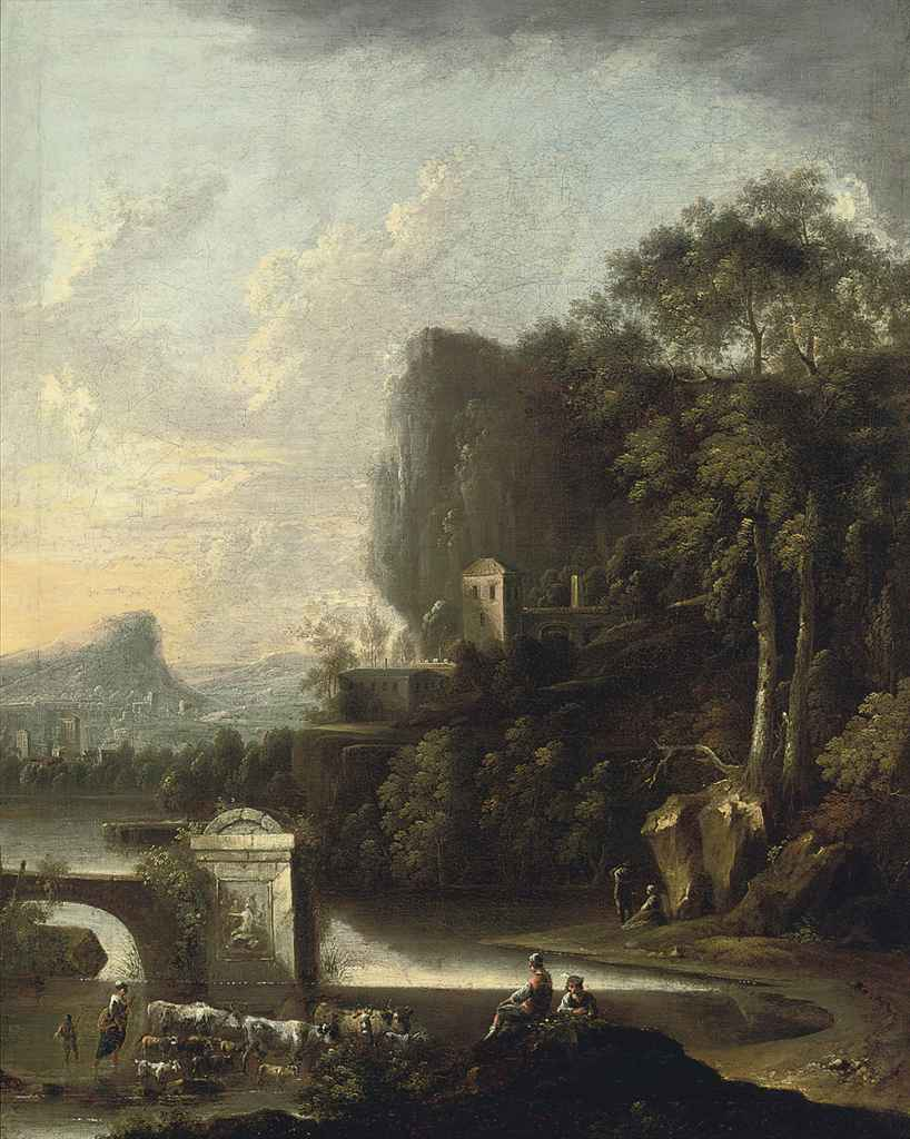 A wooded river landscape with drovers beside classical ruins, a village beyond
