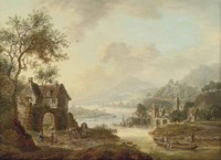An extensive Rhenish river landscape with figures beside a ruined arch, mountains beyond
