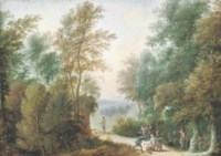 A wooded landscape with travellers ambushed by brigands on a track