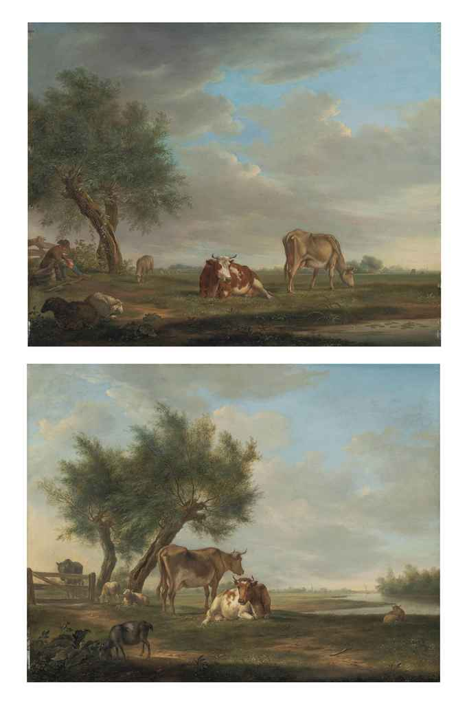 A wooded landscape, a shepherd with sheep and cattle by a pond; and A wooded, river landscape with cattle, sheep and a goat