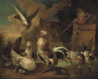 A village landscape with a cockerel being attacked by a hawk surrounded by other birds