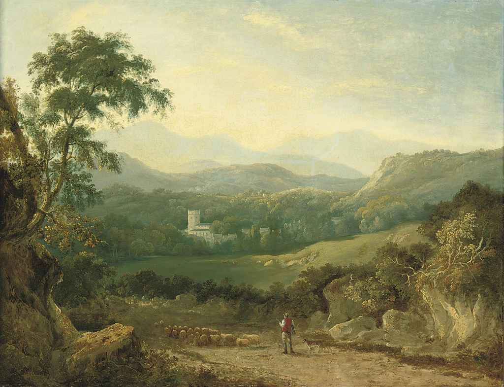 A mountainous landscape near Porthmadog, with a shepherd, his flock and a collie in a lane, a traveller in the distance, cows in a dale and a village beyond