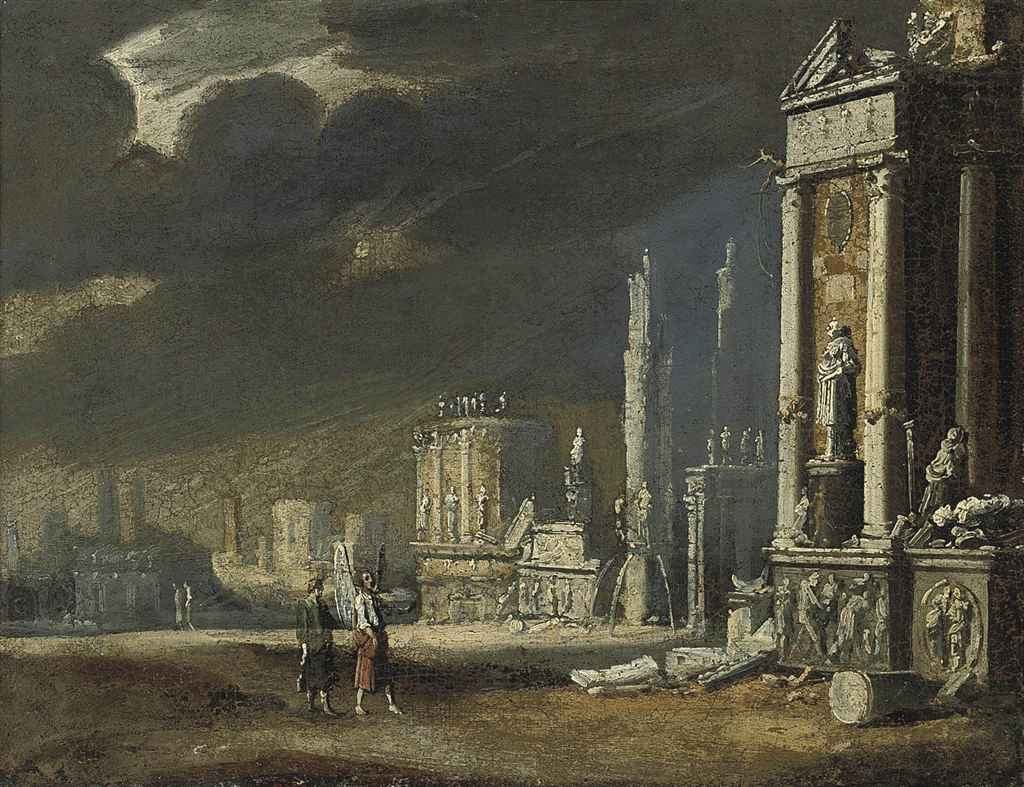 An architectural capriccio with Tobias and the Archangel Raphael