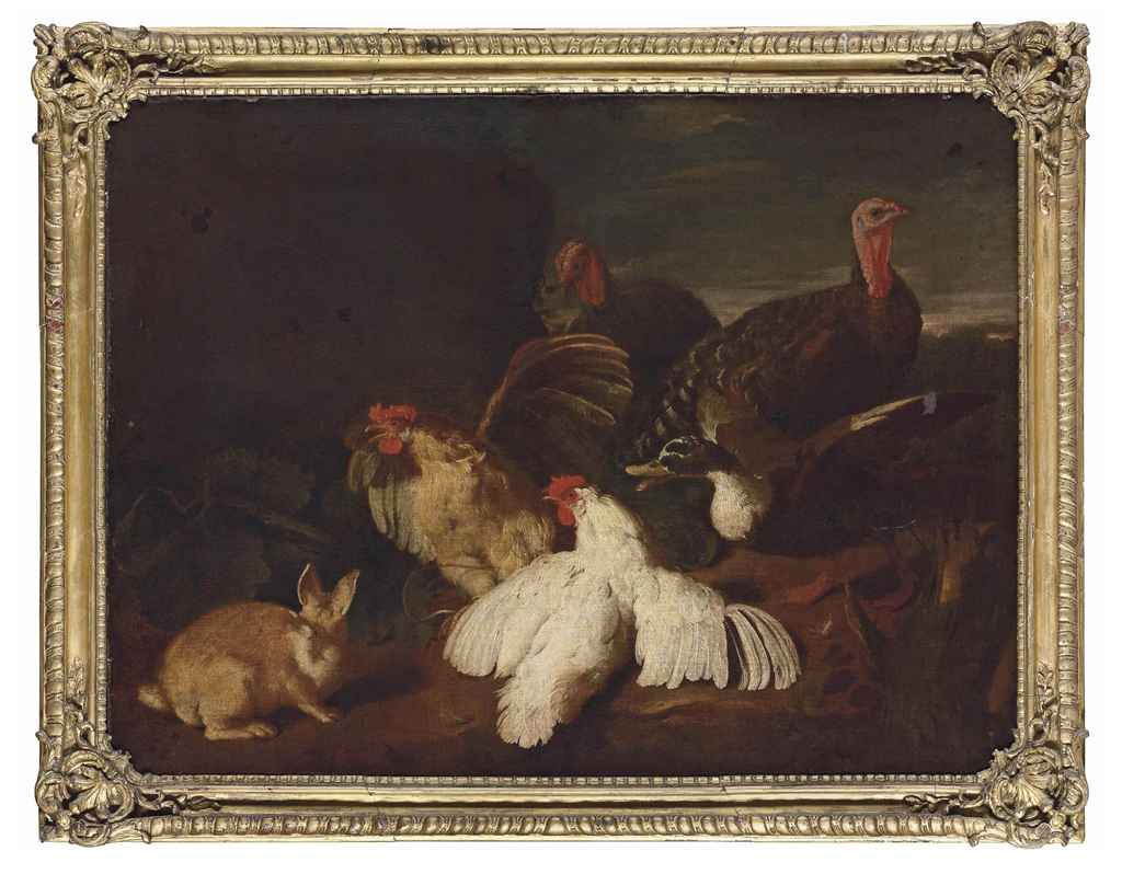 Hens, turkeys, a duck and a rabbit, in a park landscape