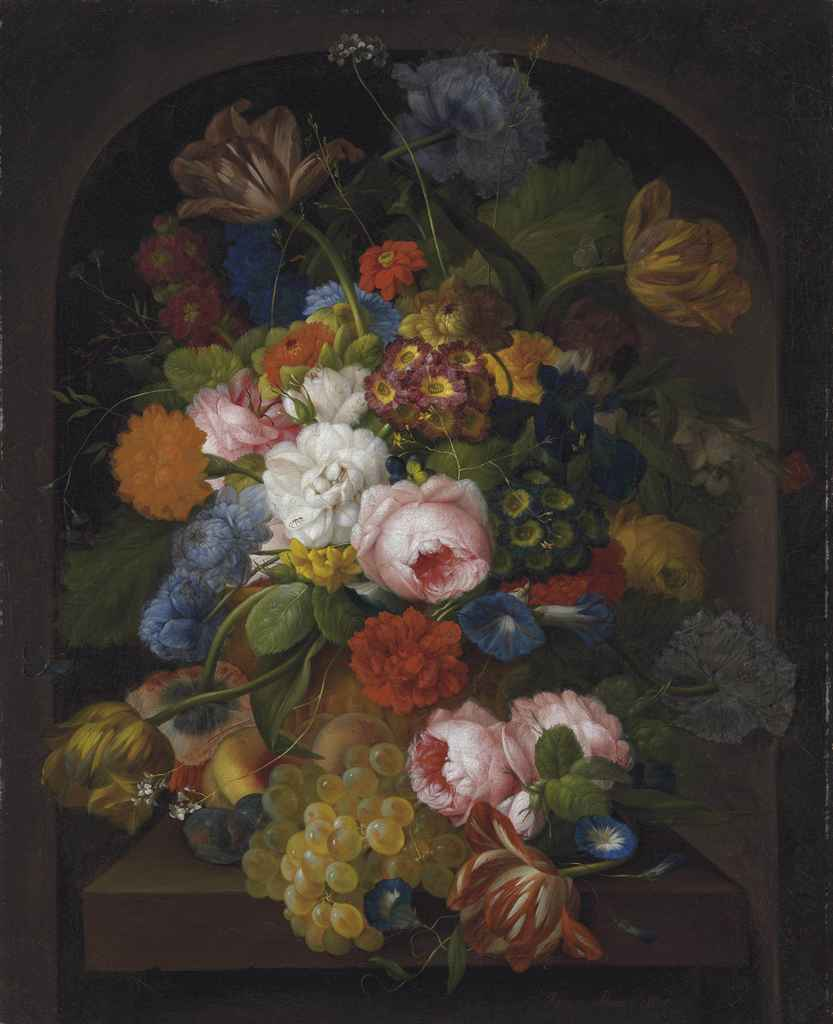 A still-life of flowers with grapes, peaches and plums on a stone ledge in a niche