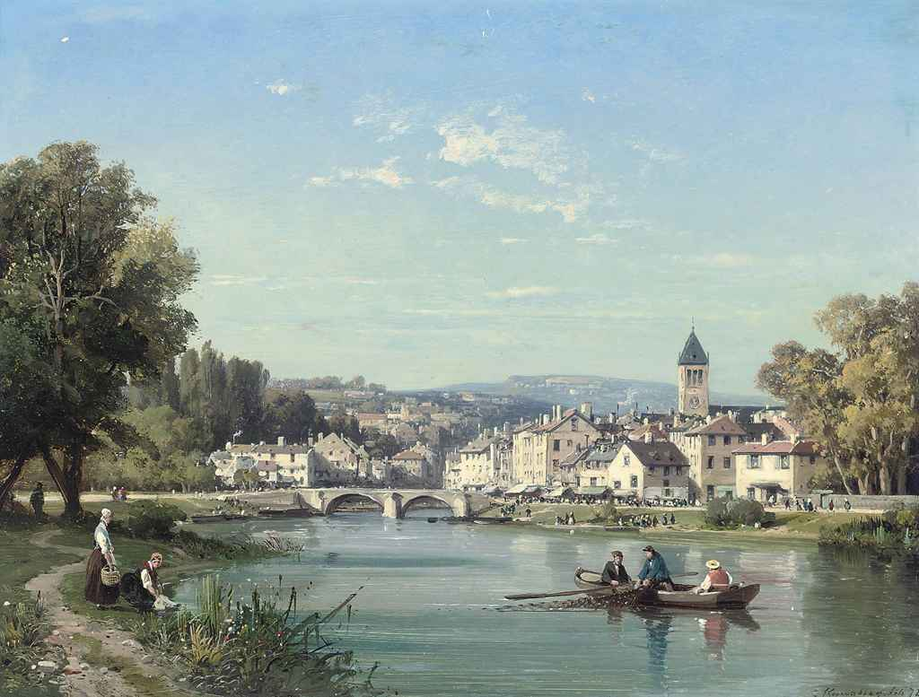 Rowing near a French town