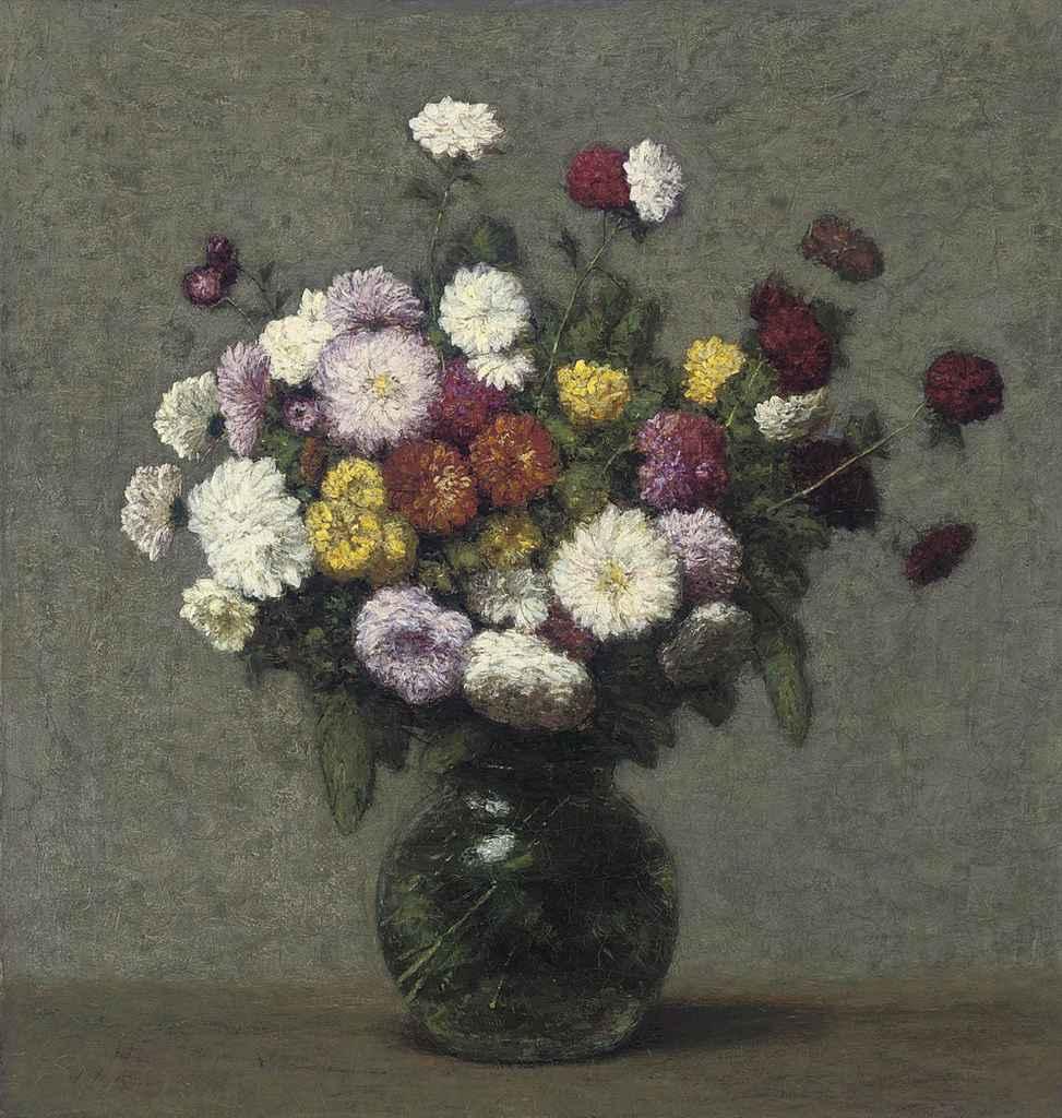 Bouquet de zinnias dans un vase boule