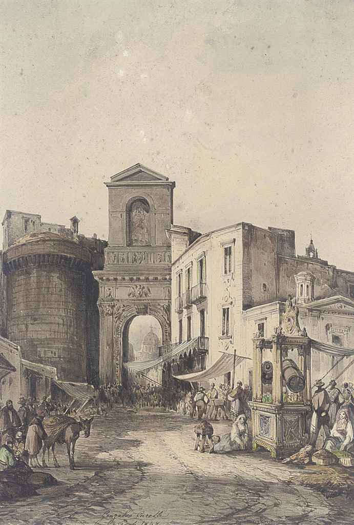 A bustling market at the city walls, Naples