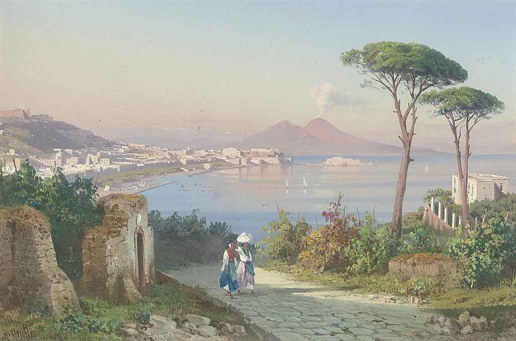 Washerwomen on a track above the Bay of Naples, Vesuvius beyond