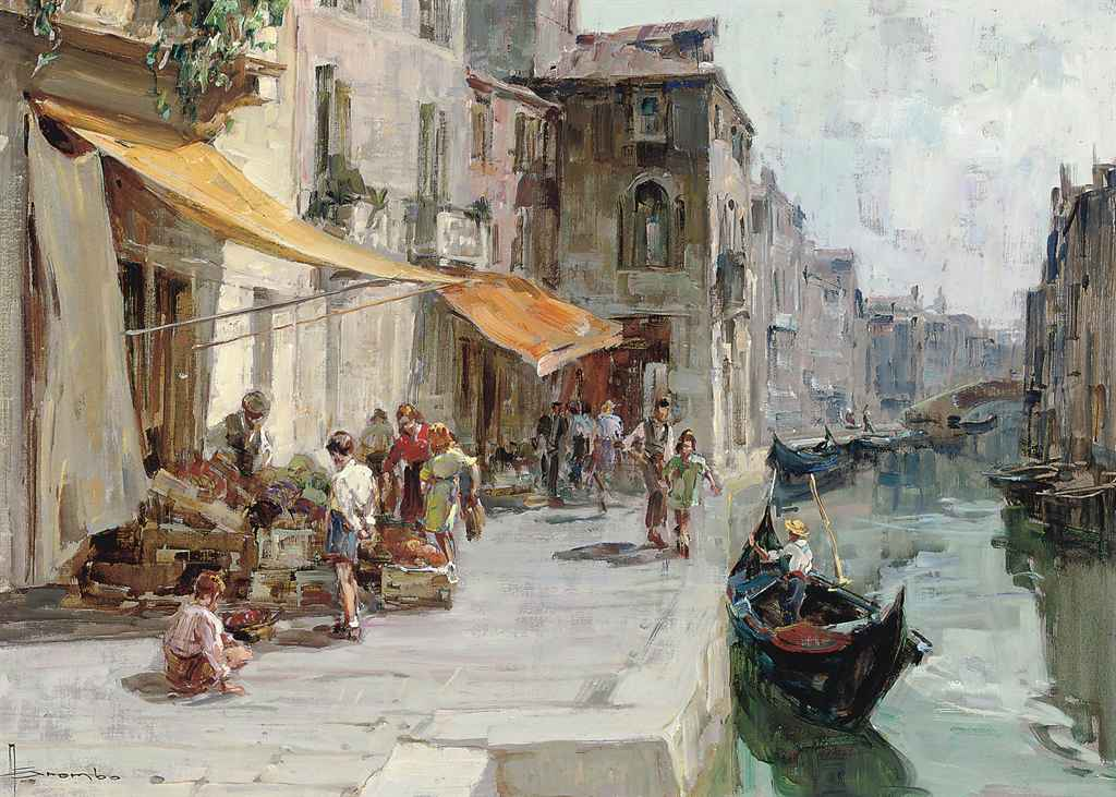 Buying fruit by a Venetian backwater