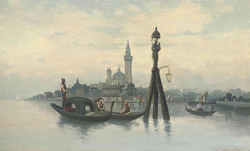 Gondolas moored before Venice