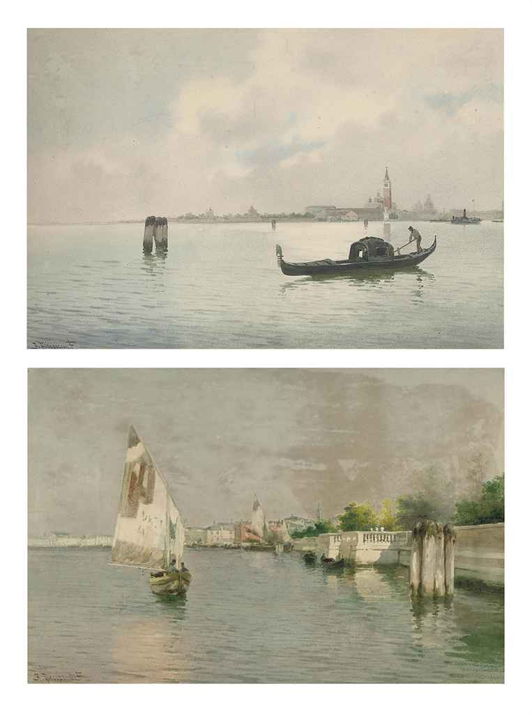 A Gondolier on the Venetian lagoon; and Fishing boats before Venice