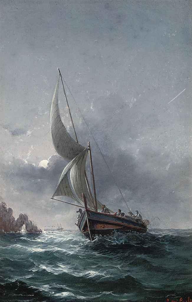 A Maltese fishing vessel off the coast under moonlight