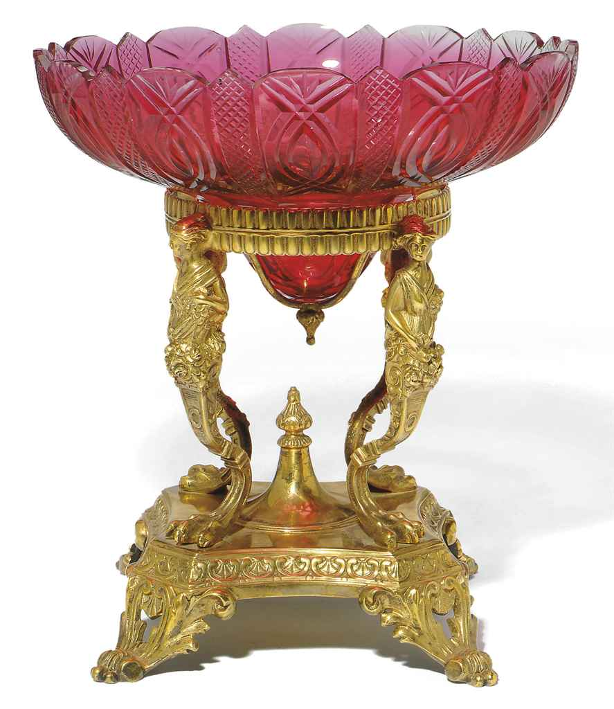 A CRANBERRY GLASS AND GILT-MET