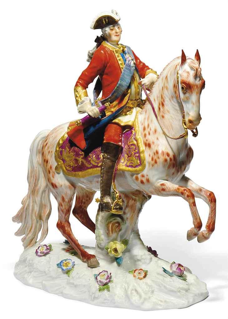 A MEISSEN EQUESTRIAN FIGURE OF AUGUSTUS III