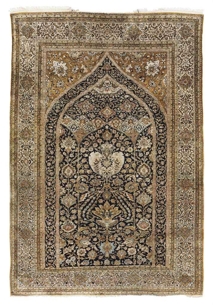 A fine silk Qum prayer rug
