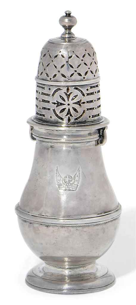 A QUEEN ANNE SILVER SUGAR CASTER