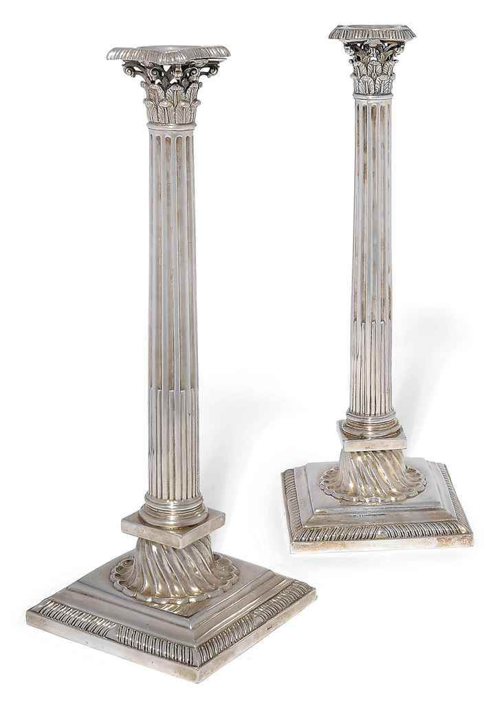 A PAIR OF GEORGE III SILVER CORINTHIAN COLUMN CANDLESTICKS