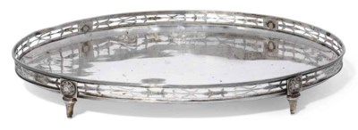A GERMAN SILVER OVAL TRAY