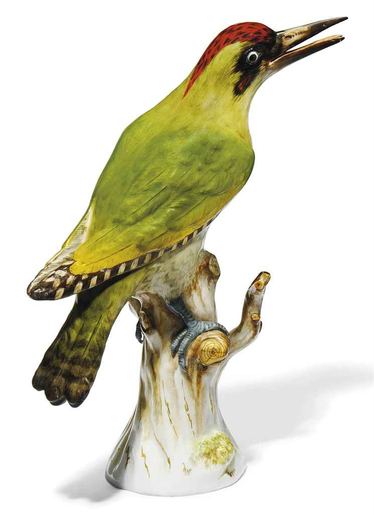 A MEISSEN MODEL OF A WOODPECKE