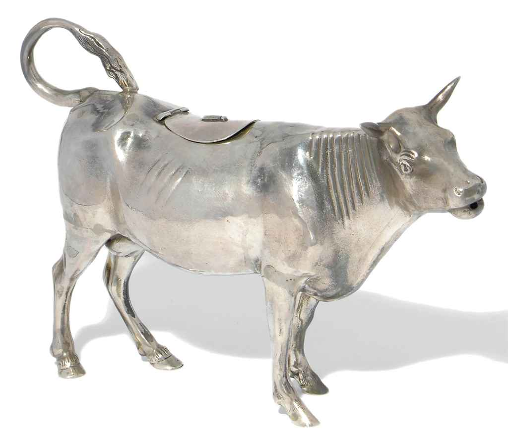 A LARGE GERMAN SILVER COW CREA