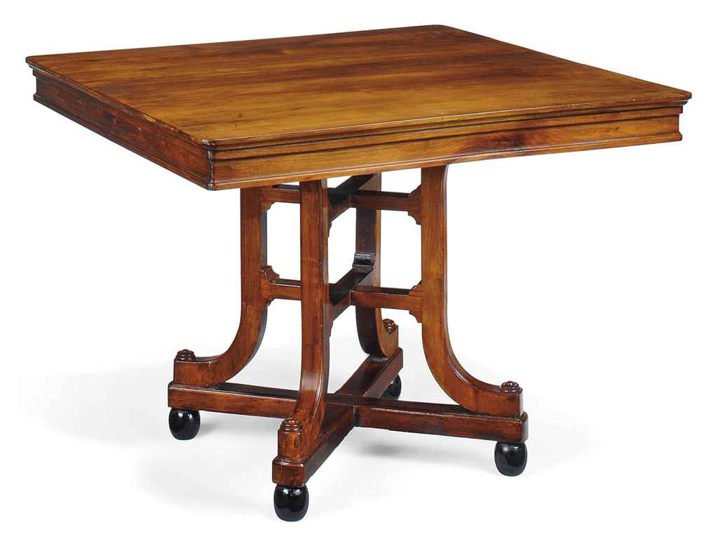 AN EARLY VICTORIAN WALNUT AND