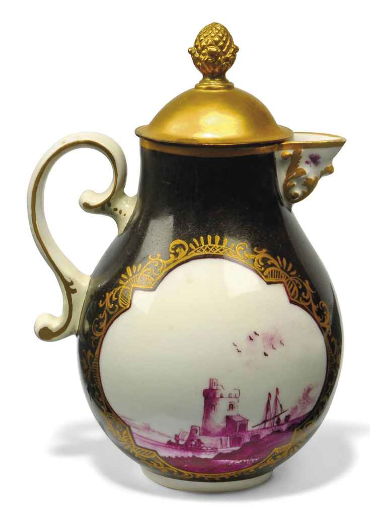 A MEISSEN PURPLE-BLACK GROUND