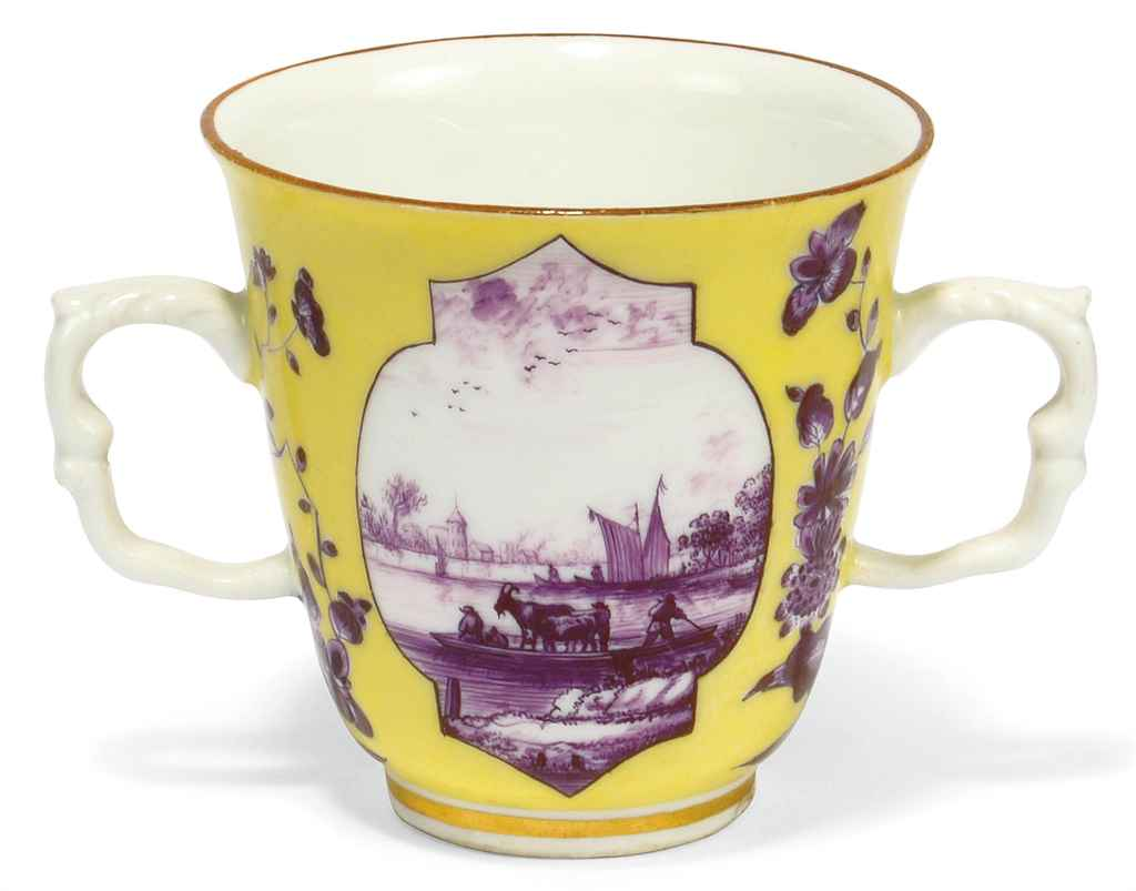 A MEISSEN YELLOW-GROUND TWO-HA