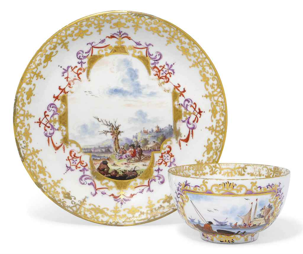 A MEISSEN LARGE SAUCER AND A T