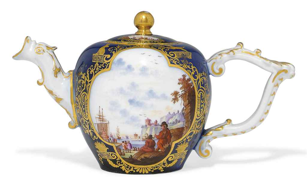 A MEISSEN BLUE-GROUND TEAPOT A