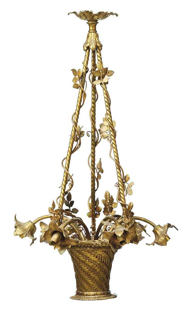 A GILT-BRASS SIX-LIGHT CHANDEL