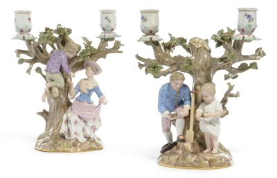 A PAIR OF MEISSEN FIGURAL TWO-