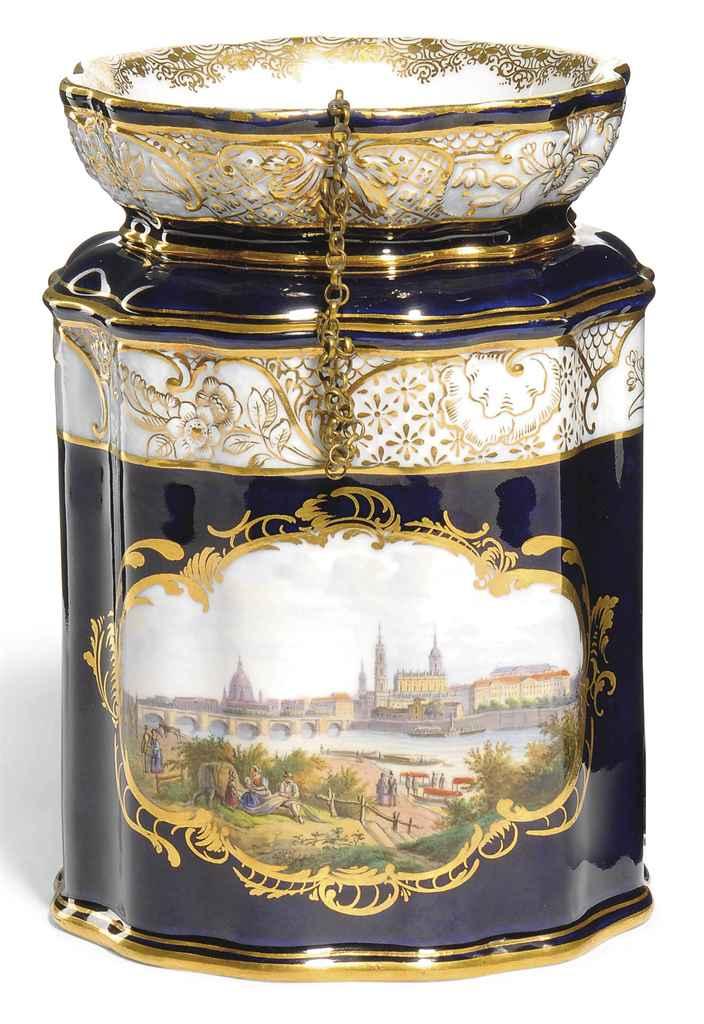 A MEISSEN DARK-BLUE-GROUND JAR
