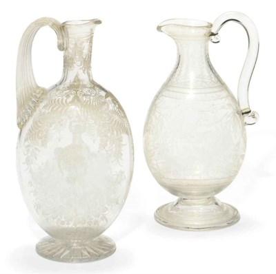 TWO STOURBRIDGE GLASS EWERS