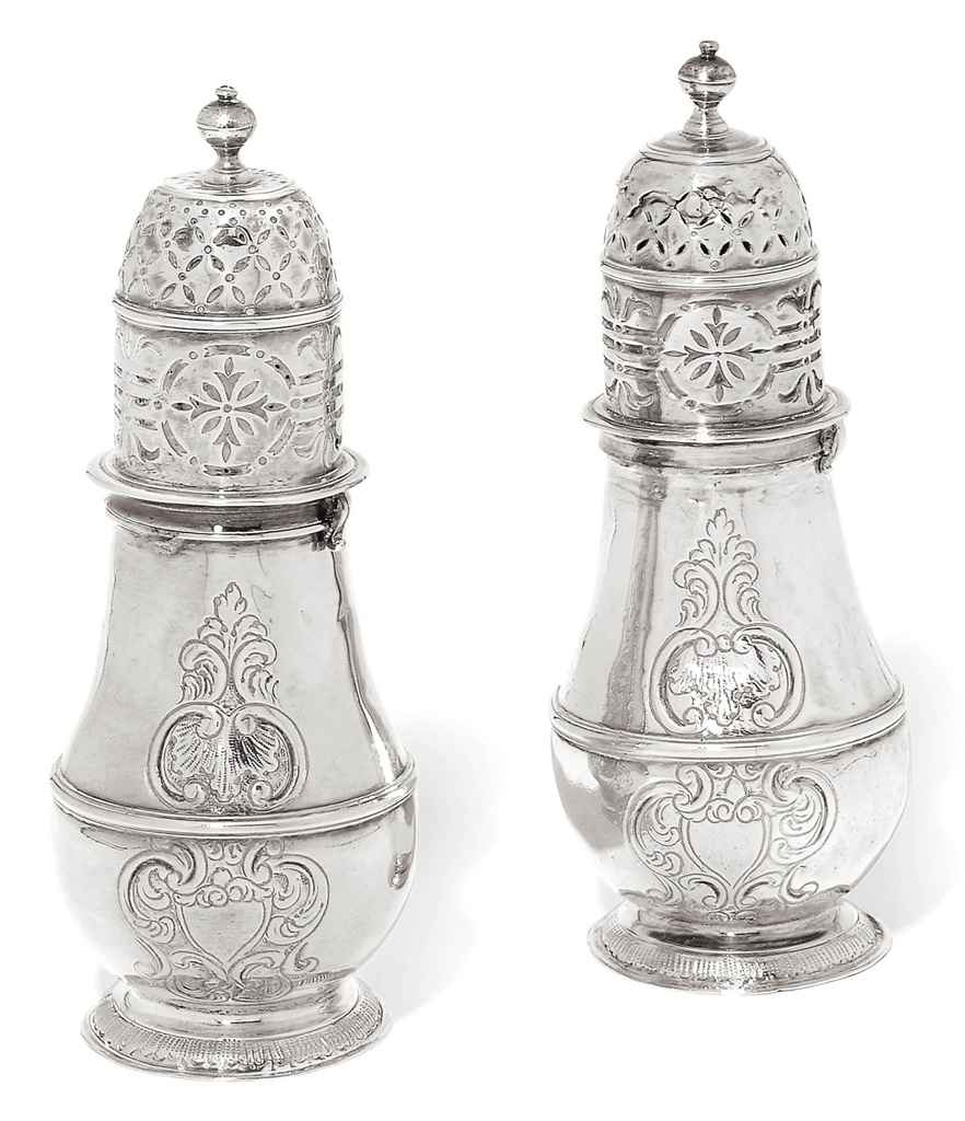 A PAIR OF QUEEN ANNE SILVER CA