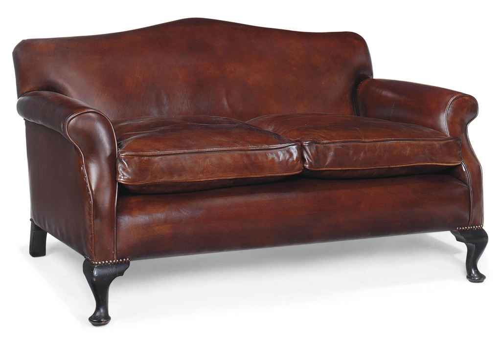 A LEATHER UPHOLSTERED TWO SEAT