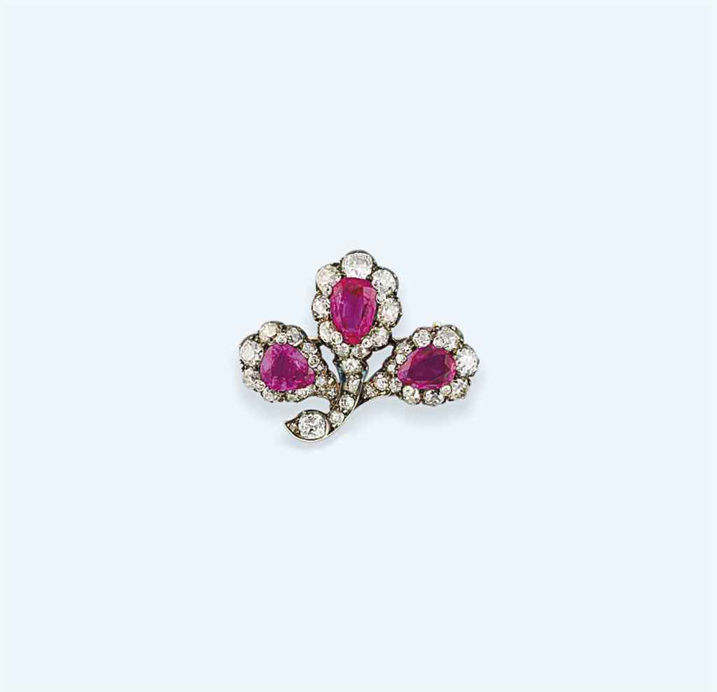 A late 19th century ruby and diamond brooch