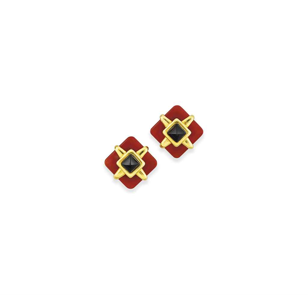 A pair of cornelian and onyx earrings, by Cipullo for Cartier